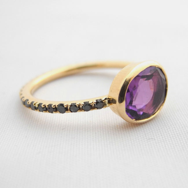 Amethyst Ring with Black Diamonds, Ring, Liz Phillips, Collyer's Mansion - Collyer's Mansion
