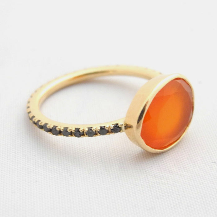 Carnelian Ring with Black Diamonds, Ring, Liz Phillips, Collyer's Mansion - Collyer's Mansion
