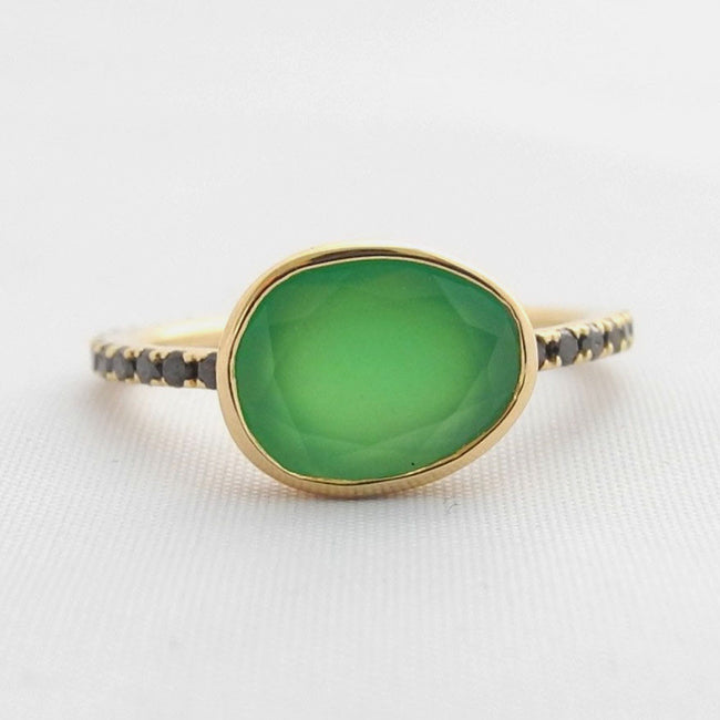 Chrysoprase Ring with Black Diamonds, Ring, Liz Phillips, Collyer's Mansion - Collyer's Mansion