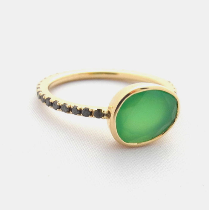 Chrysoprase Ring with Black Diamonds