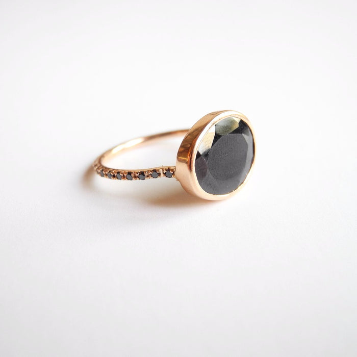 Black Spinel Ring with Black Diamonds, Ring, Liz Phillips, Collyer's Mansion - Collyer's Mansion