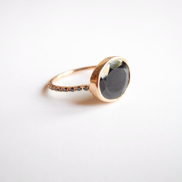 Black Spinel Ring with Black Diamonds