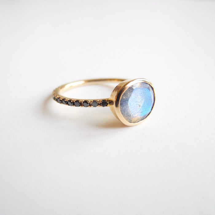 Labradorite Ring with Black Diamonds, Ring, Liz Phillips, Collyer's Mansion - Collyer's Mansion
