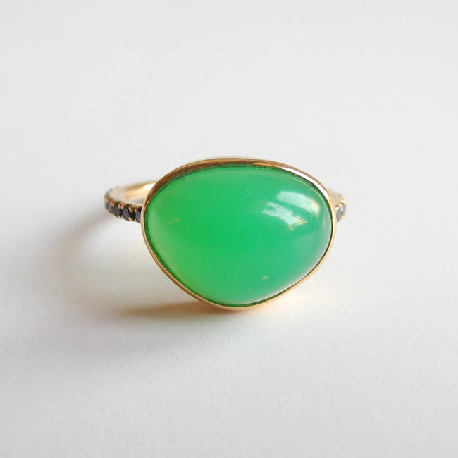 Large Chrysoprase Ring with Black Diamonds