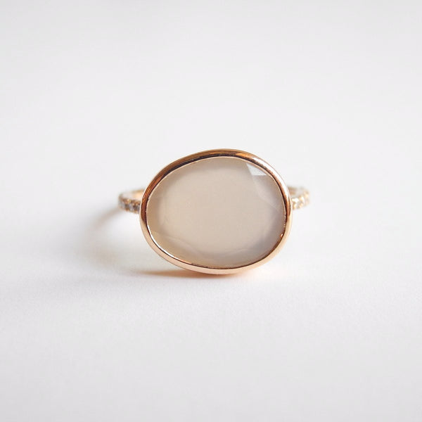 Moonstone Ring with White Diamonds