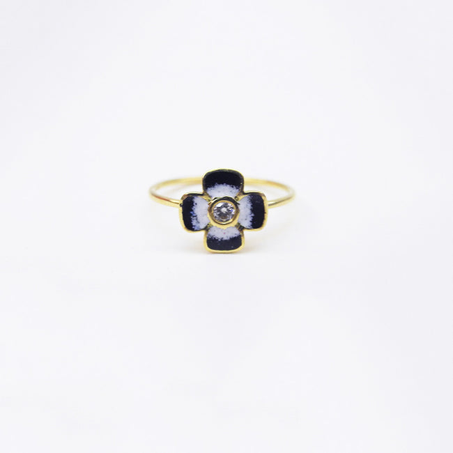 Black Enamel and Diamond Ring, Ring, Liz Phillips, Collyer's Mansion - Collyer's Mansion