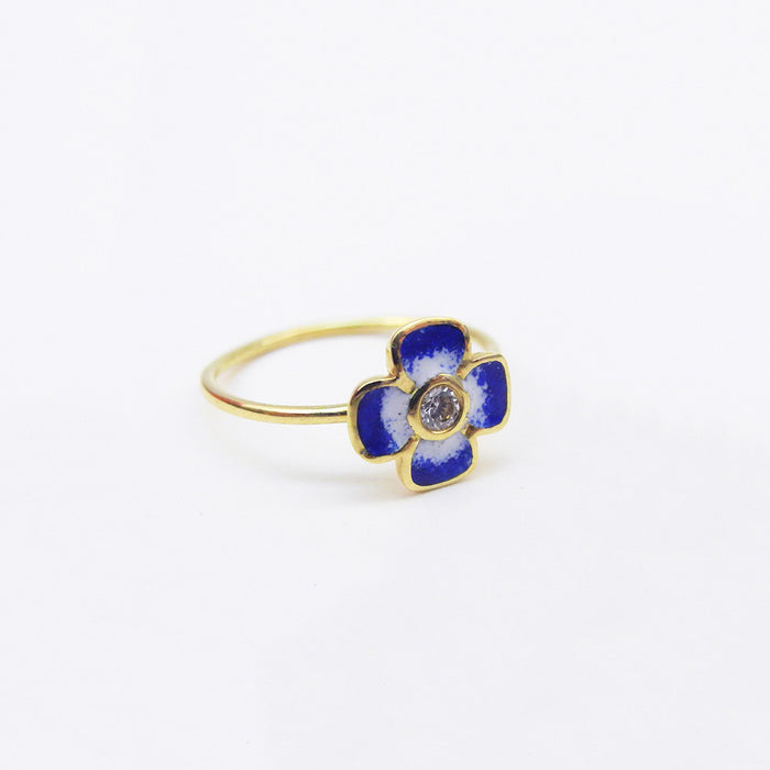 Blue Enamel and Diamond Ring