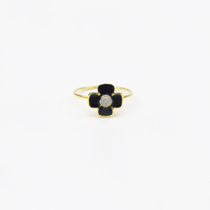 Black Enamel and Opal Ring, Ring, Liz Phillips, Collyer's Mansion - Collyer's Mansion