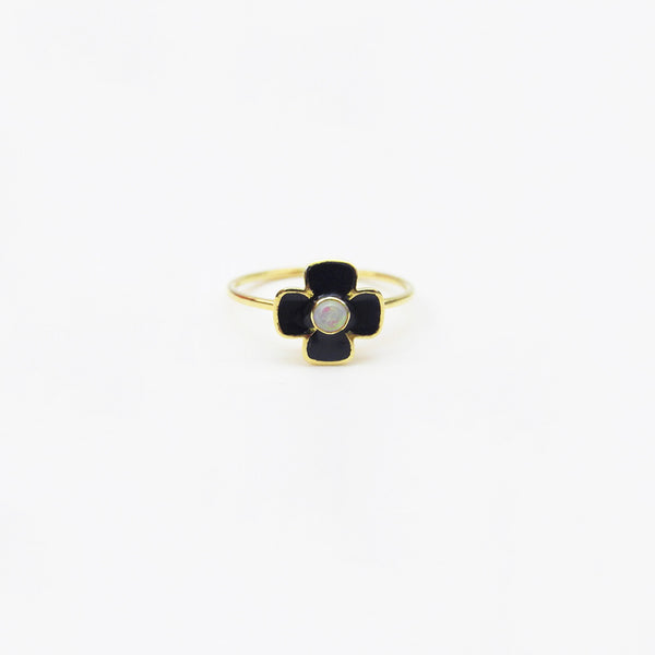 Black Enamel and Opal Ring