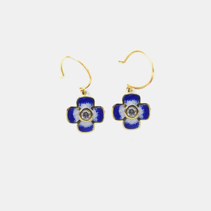 Blue Enamel and White Diamond Earrings