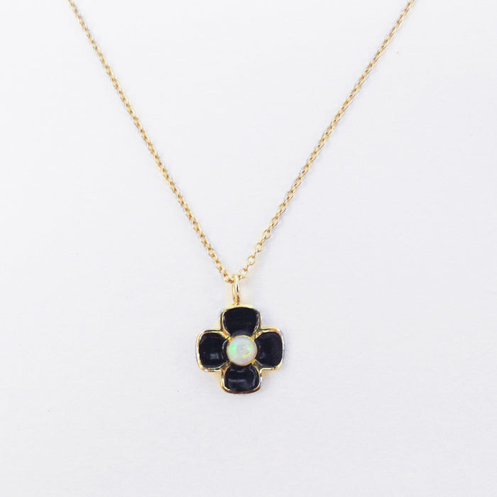 Black Enamel and Opal Necklace