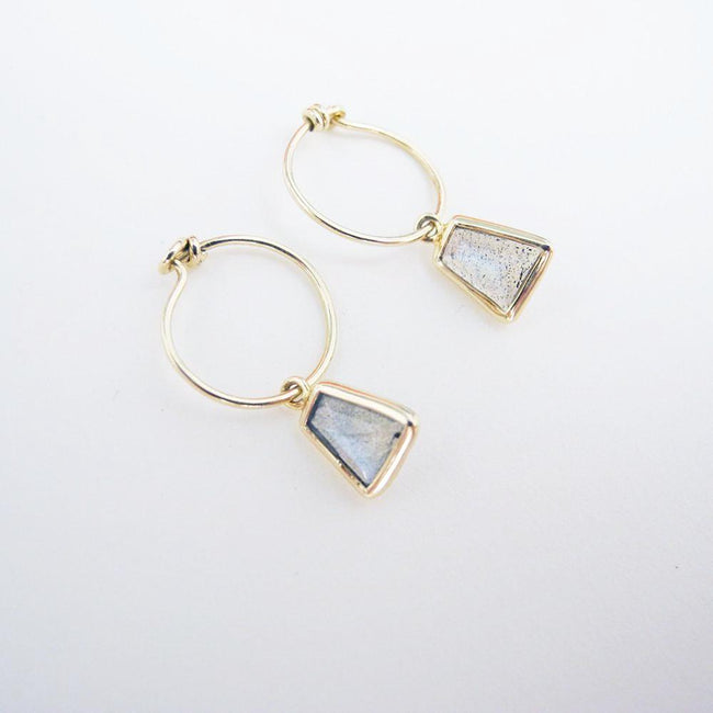 Labradorite Hoop Earrings, Earrings, Liz Phillips, Collyer's Mansion - Collyer's Mansion