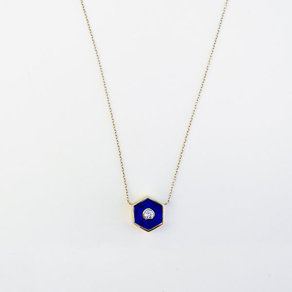Lapis and Diamond Pendant Necklace