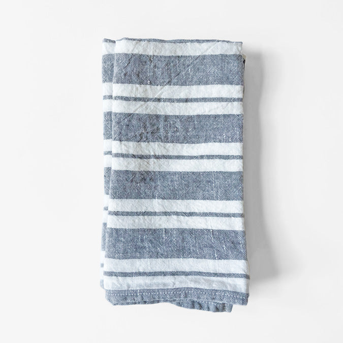 Linen Napkin, large grey stripes