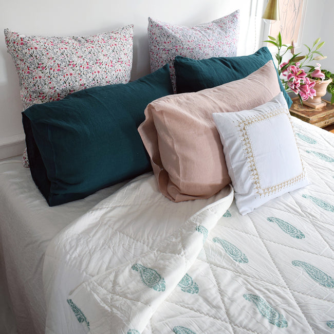 Linge Particulier Vintage Green Standard Linen Pillowcase Sham with a block printed quilt for a colorful linen bedding look in deep teal green - Collyer's Mansion