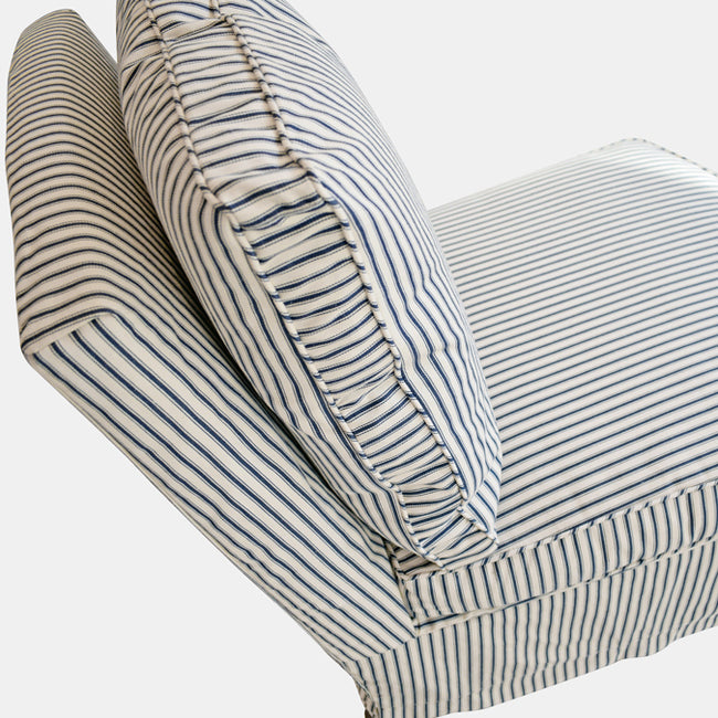 Clara Chair Slipcovered in French Ticking Indigo