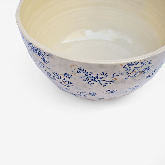 Blue Flowers Ceramic Serving Bowl