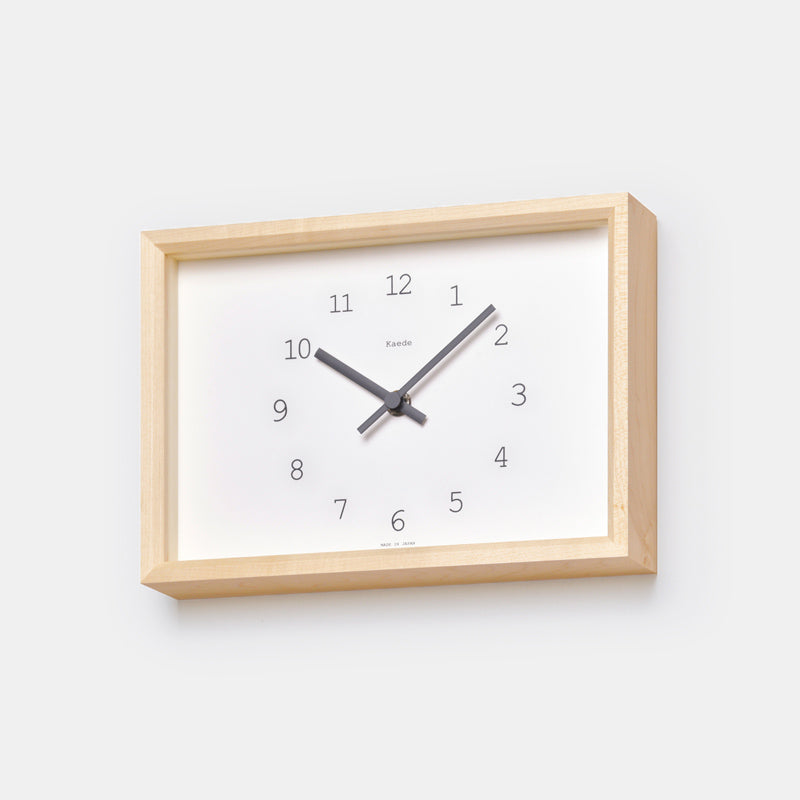 Lemnos Kaede Natural Wood Clock is a perfect wood wall clock or stand up clock with black accent for colorful home decor - Collyer's Mansion
