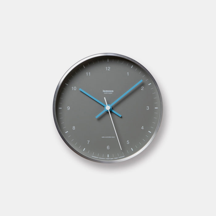 Lemnos Mizuiro Wall Clock in grey is a perfect aluminum wall clock with blue accent for colorful home decor - Collyer's Mansion