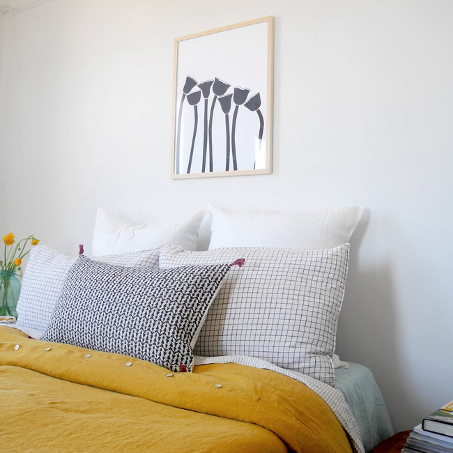Linge Particulier Off White Euro Linen Pillowcase Sham with a honey yellow linen duvet for a colorful linen bedding look in soft white - Collyer's Mansion