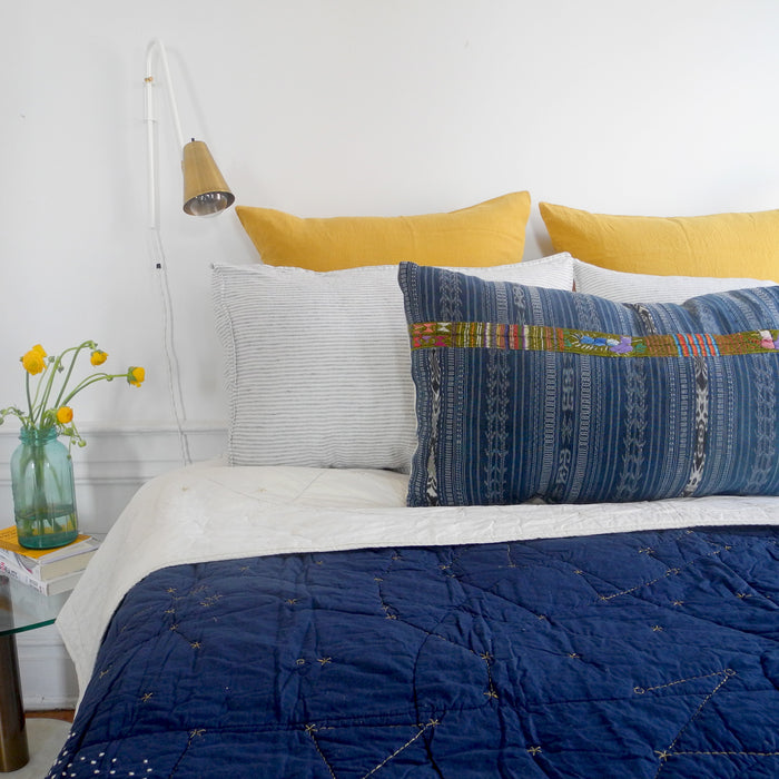 Linge Particulier Honey Yellow Euro Linen Pillowcase Sham for a colorful linen bedding look in mustard yellow - Collyer's Mansion