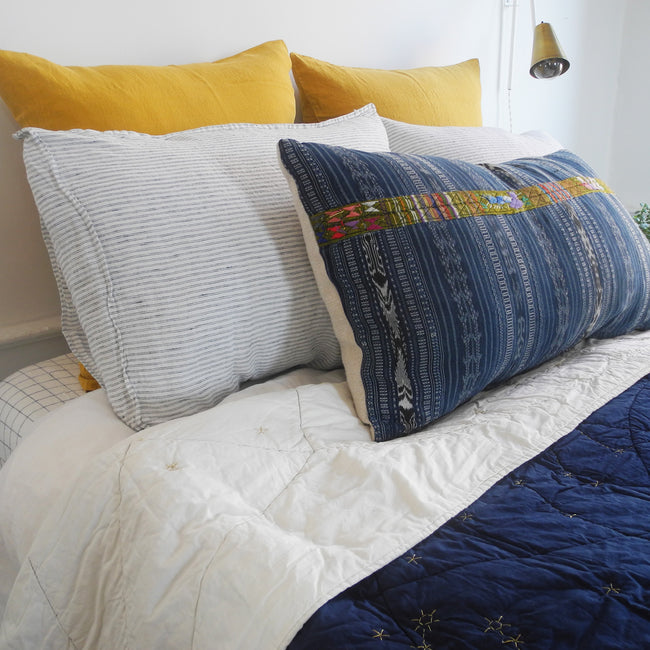 Linge Particulier Honey Yellow Euro Linen Pillowcase Sham with a Haptic Lab constellation quilt for a colorful linen bedding look in mustard yellow - Collyer's Mansion