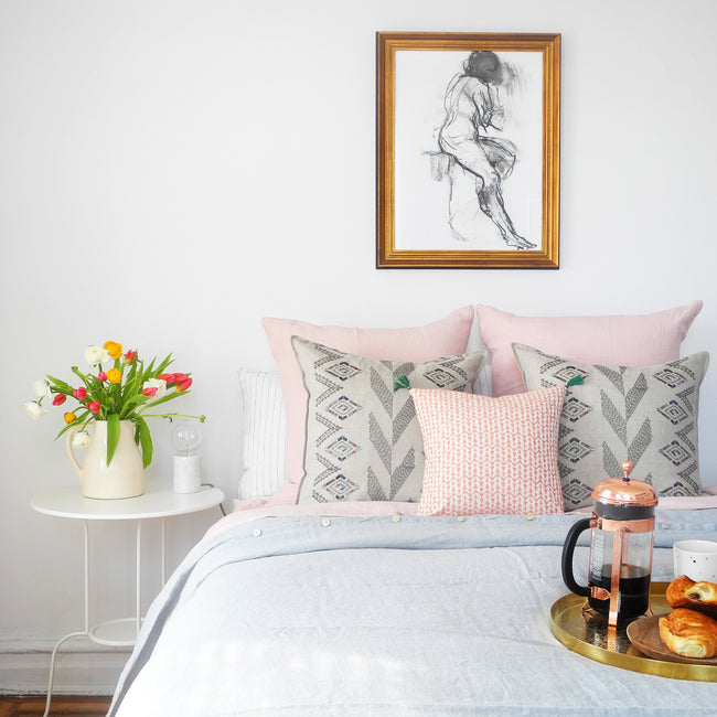 Linge Particulier Nude Euro Linen Pillowcase Sham with a cloud grey linen duvet and Coral & Tusk pillows for a colorful linen bedding look in soft blush pink - Collyer's Mansion