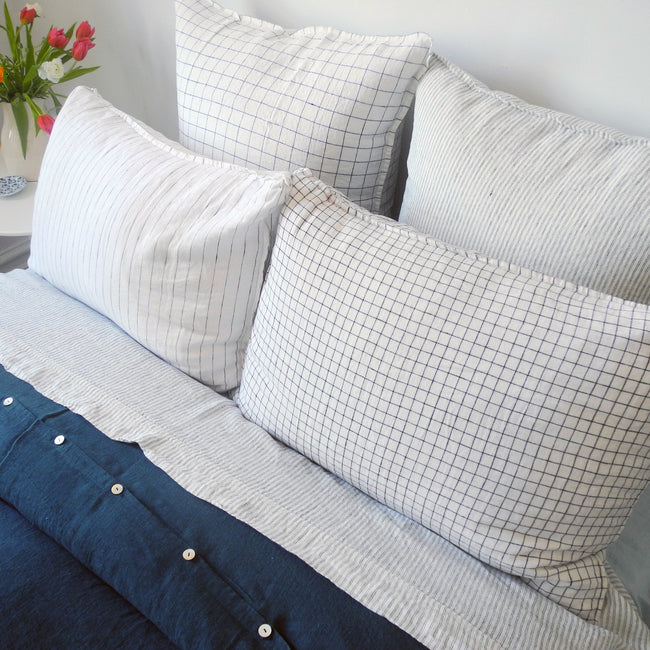 Linen Euro Pillowcase, navy check, Pillowcase, Linge Particulier, Collyer's Mansion - Collyer's Mansion