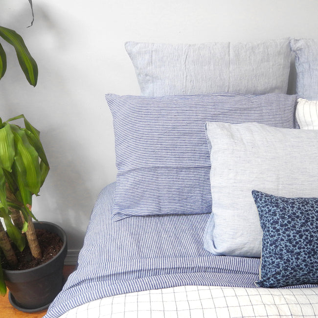 Linen Euro Pillowcase, blue thin stripe, Pillowcase, Linge Particulier, Collyer's Mansion - Collyer's Mansion