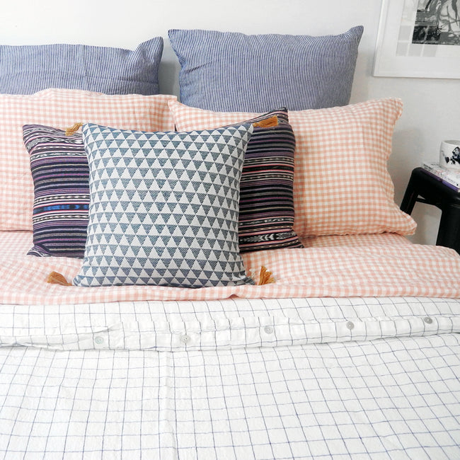 Linen Flat Sheet, copper gingham, Sheet, Linge Particulier, Collyer's Mansion - Collyer's Mansion