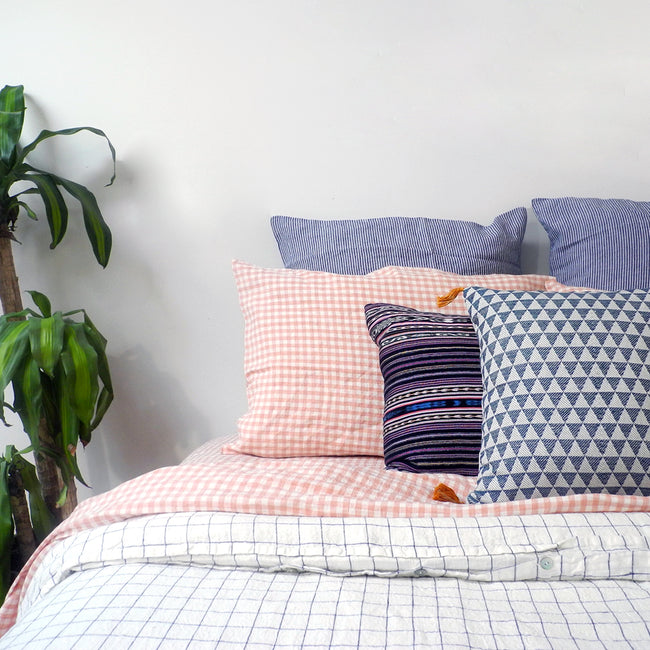 Linen Standard Pillowcase, copper gingham, Pillowcase, Linge Particulier, Collyer's Mansion - Collyer's Mansion