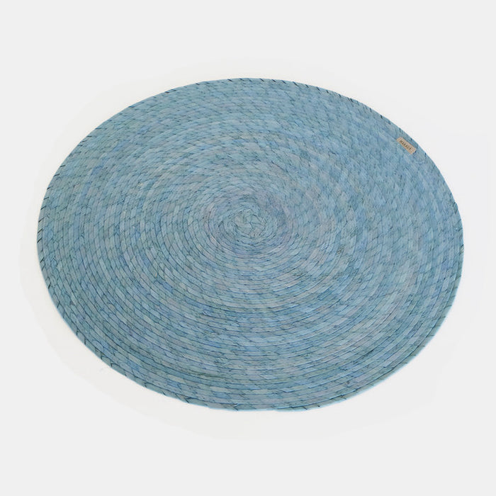 Light Blue Round Woven Palm Placemat by Makaua at Collyer's Mansion