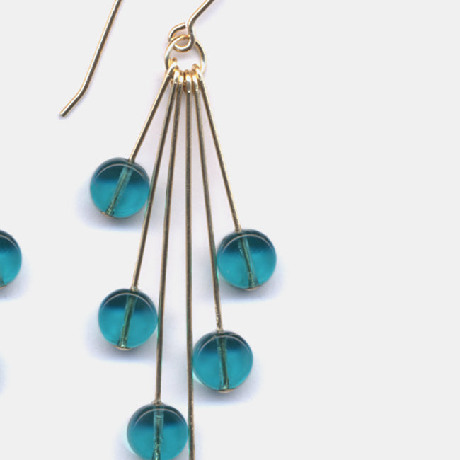 Teal Translucent Cluster Earrings