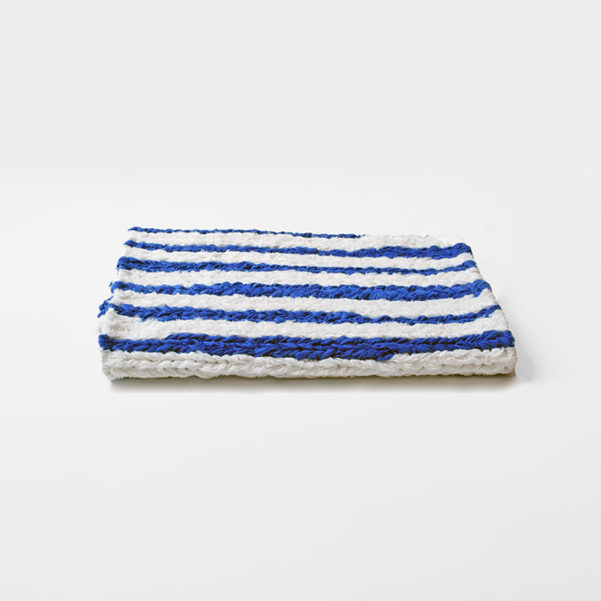 Blue Stripe Linen Knit Bath Mat