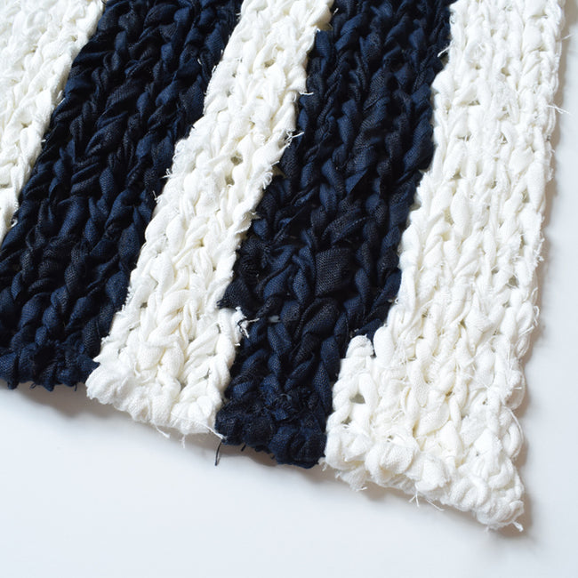 Black Stripe Linen Knit Bath Mat