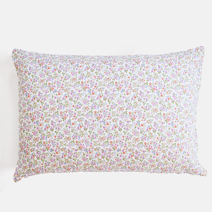 Linen Standard Pillowcase, violet flower