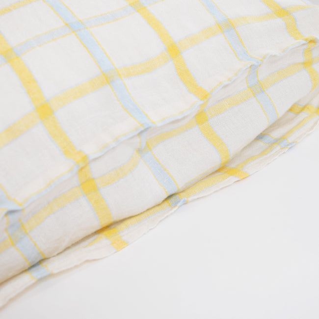 Linen Standard Pillowcase, yellow blue tile