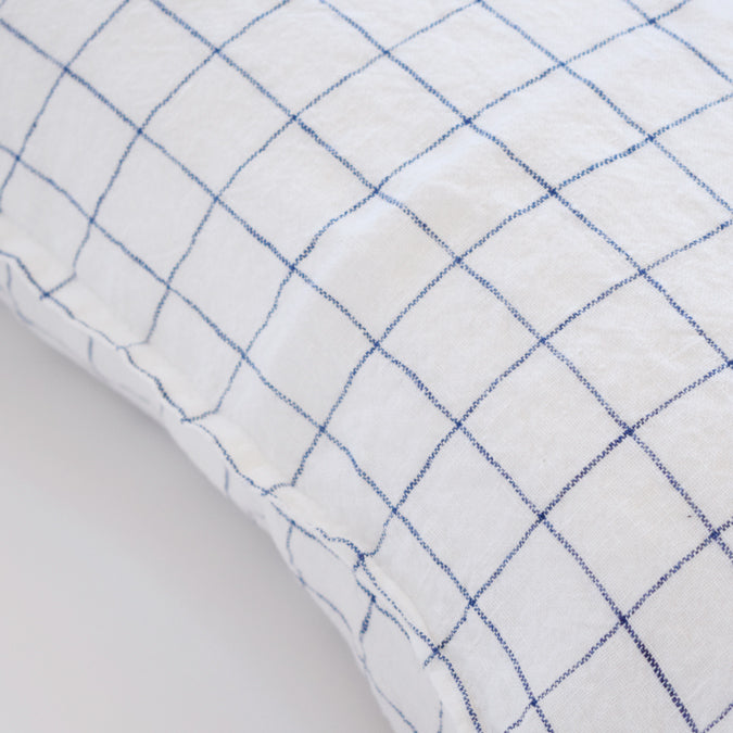 Linen Euro Pillowcase, navy check