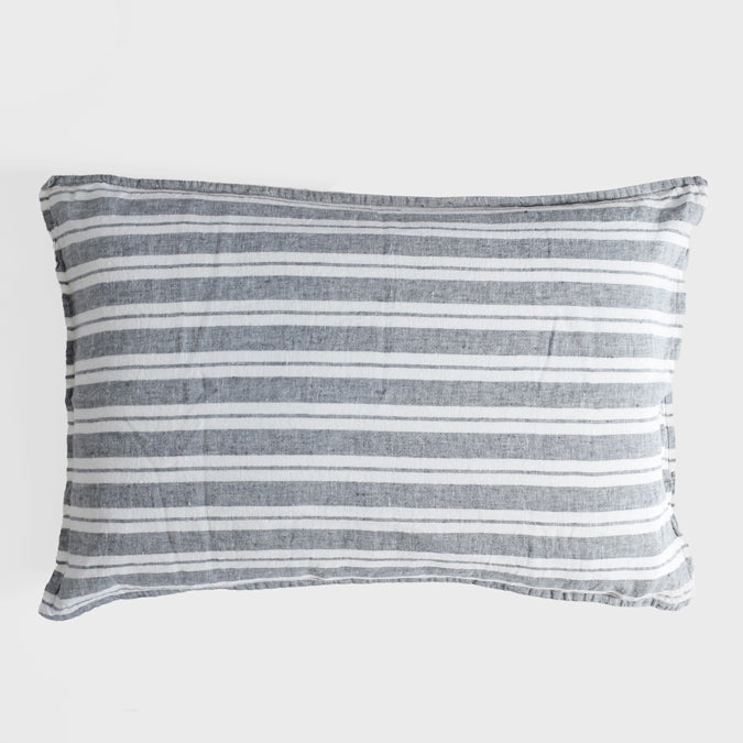 Linen Standard Pillowcase, large grey stripes