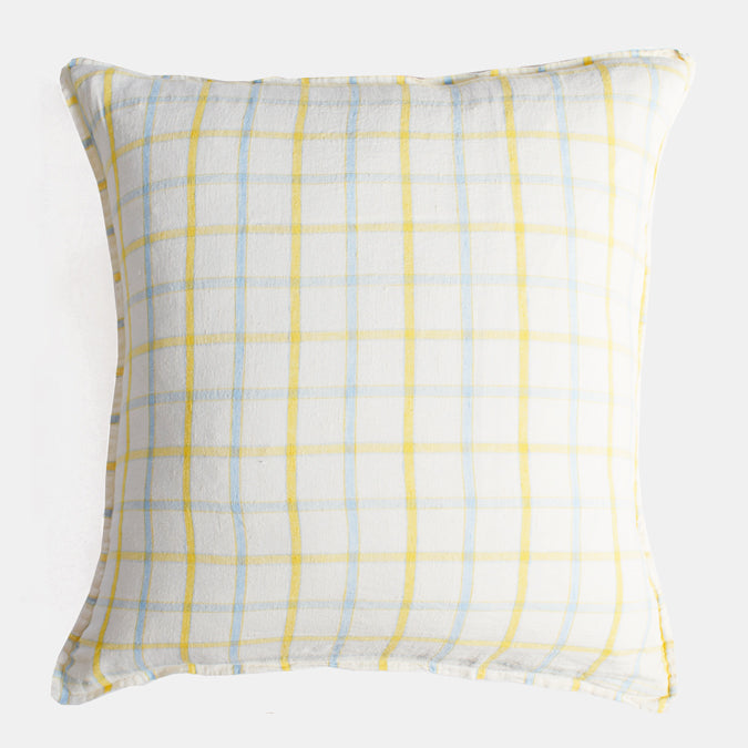 Linen Euro Pillowcase, yellow blue tile
