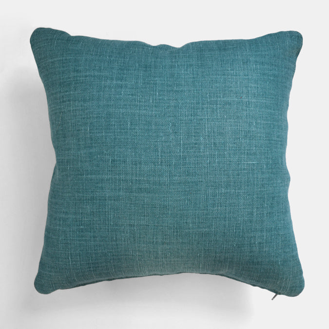 Lagoon Blue Belgian Linen Pillow, square