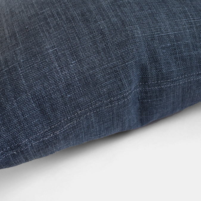 Midnight Blue Belgian Linen Pillow, square