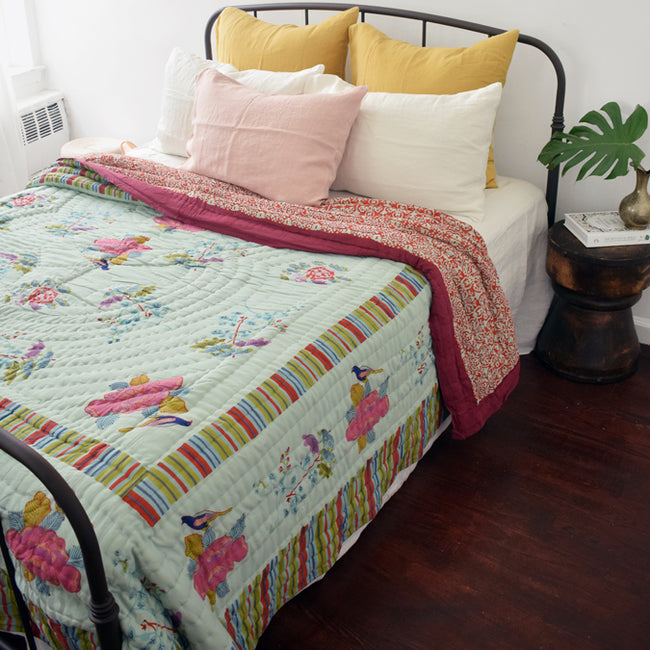 Lisa Corti Quilt Block Printed Indian Quilt for a Colorful Bed at Collyer's Mansion