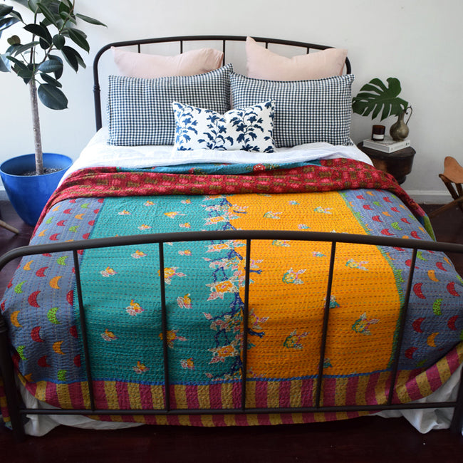 Lisa Corti Bedcover in Gudri Indian Quilt for a Colorful Bed at Collyer's Mansion