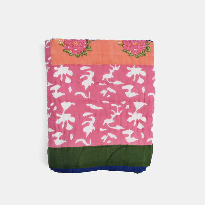 Lisa Corti Throw Quilt for colorful bedding in Matisse Pot Pink - Collyer's Mansion
