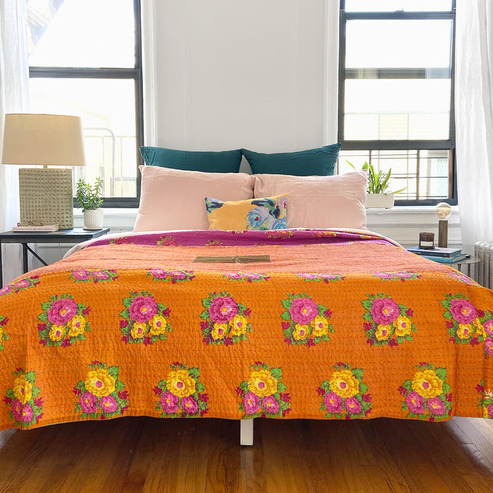 Tiger Flower Gudri Bed Cover, queen/king