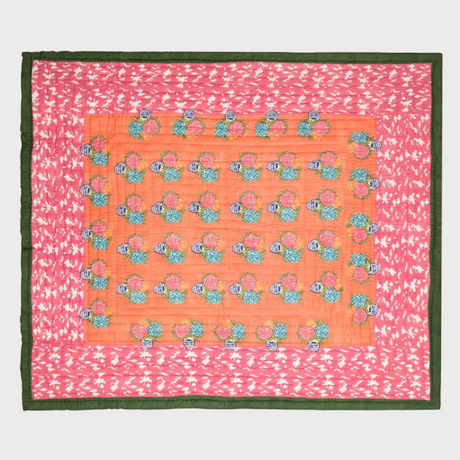 Lisa Corti Queen King Bed Quilt for colorful bedding in Matisse Pot Pink - Collyer's Mansion