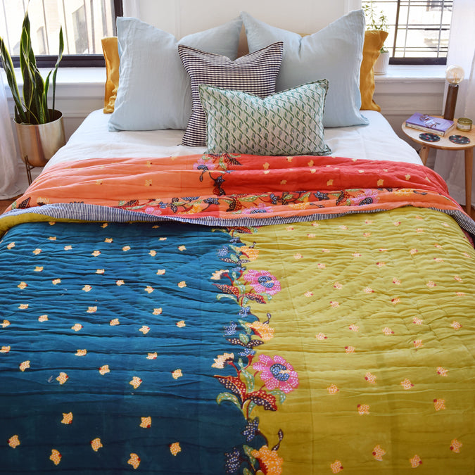 Indonesian Teal Green Quilt, queen/king