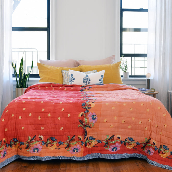 Indonesian Orange Pink Quilt, queen/king