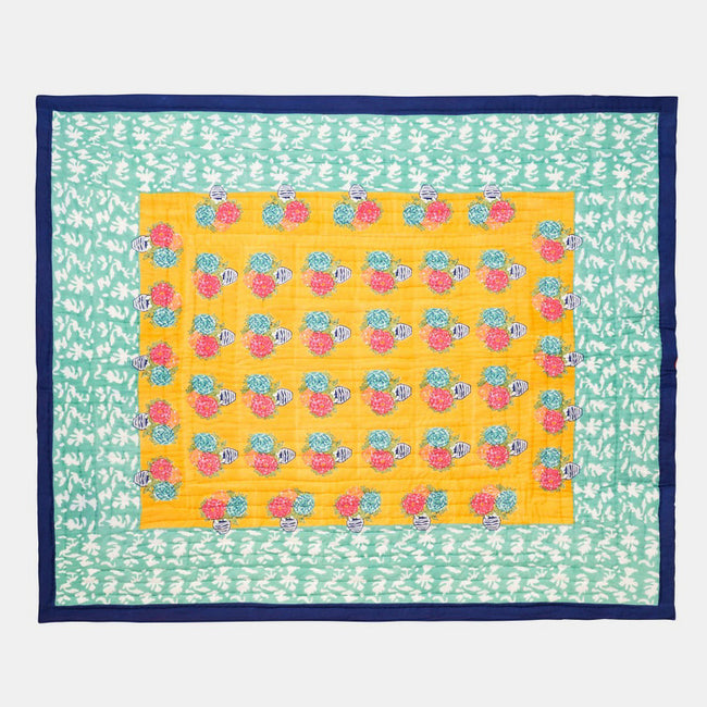 Lisa Corti Queen King Bed Quilt for colorful bedding in Matisse Pot Veronese - Collyer's Mansion